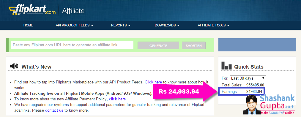 Flipkart affiliate earning proof