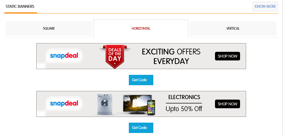 Snapdeal affiliate banners