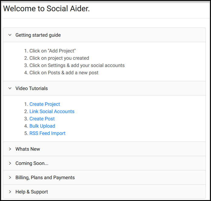 Social Aider welcome page